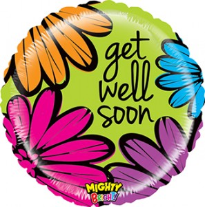 Mighty Bright Bold Flowers Get Well balloon by Betallic.