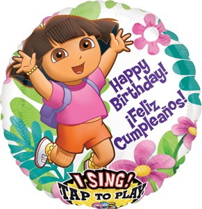 Happy Birthday/Feliz Cumpleanos Dora Singing Balloon 28 in P
