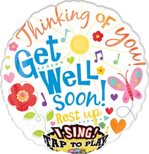 Get Well Soon Singing Balloon 28 in P