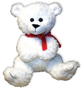 13 in White Bear with Red Bow