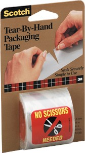 SCOTCH TEAR BY HAND PACKAGING TAPE - 6 PK