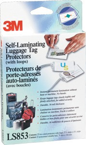 SELF-LAMINATING LUGGAGE TAG PROTECTORS - 25 PK