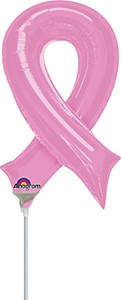 14 in Pink Ribbon Mini Shape Pre-Infated Stick Balloon 12/pk