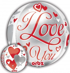 I Love You Floating Hearts Orbz balloon by Anagram.