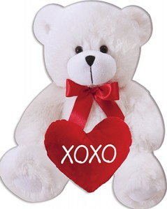 6 in White Bear with XOXO Heart