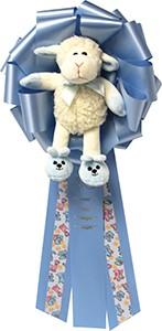 """7"""" Baby Boy Lamb Plush Bow."""
