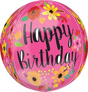 Happy Birthday Pink Floral Orbz balloon by Anagram.