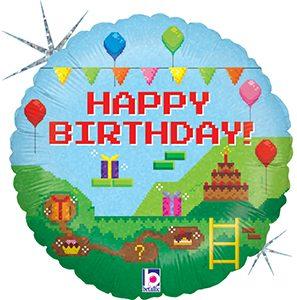 Pixel Happy Birthday Standard size holographic helium balloon by Betallic
