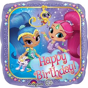 Shimmer and Shine Happy Birthday Standard size helium balloon by Anagram