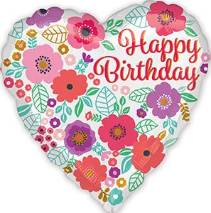 Happy Birthday Floral Print Standard size helium balloon by Anagram