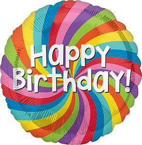 Happy Birthday Rainbow Wheel Standard size helium balloon by Anagram International
