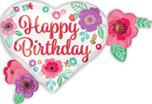 Happy Birthday Floral Print 27 inch helium shape by Anagram International