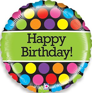 Mighty Bright Polka Dots Birthday balloon by Betallic.