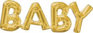 BABY Consumer Inflated Word balloon in gold by Anagram.