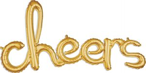 cheers Consumer Inflated Word balloon in gold by Anagram.