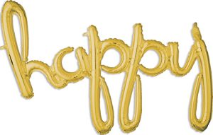 happyConsumer Inflated Word balloon in gold by Anagram.