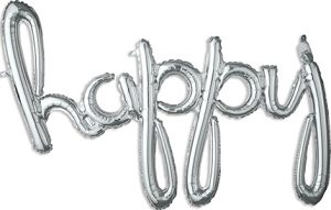 happy Consumer Inflated Word balloon in silver by Anagram.
