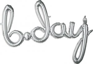 b-day Consumer Inflated Word balloon in silver by Anagram.