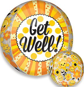 Get Well Happiness Orbz balloon by Anagram.