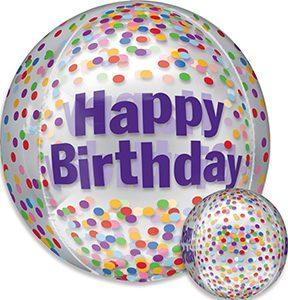 Birthday Funfetti Orbz ballon by Anagram.