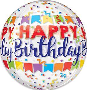 Happy Birthday Banner Bash Orbz balloon by Anagram.