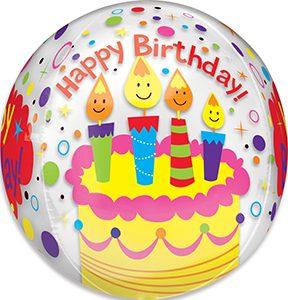 Happy Birthday Candles Confetti Orbz balloon by Anagram.
